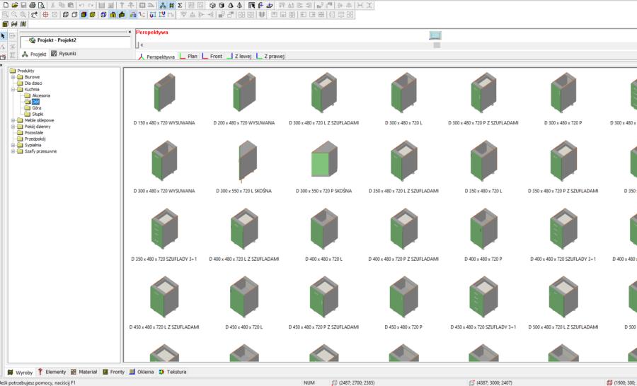 Biblioteka gotowych elementów w programie Meblarz 3D