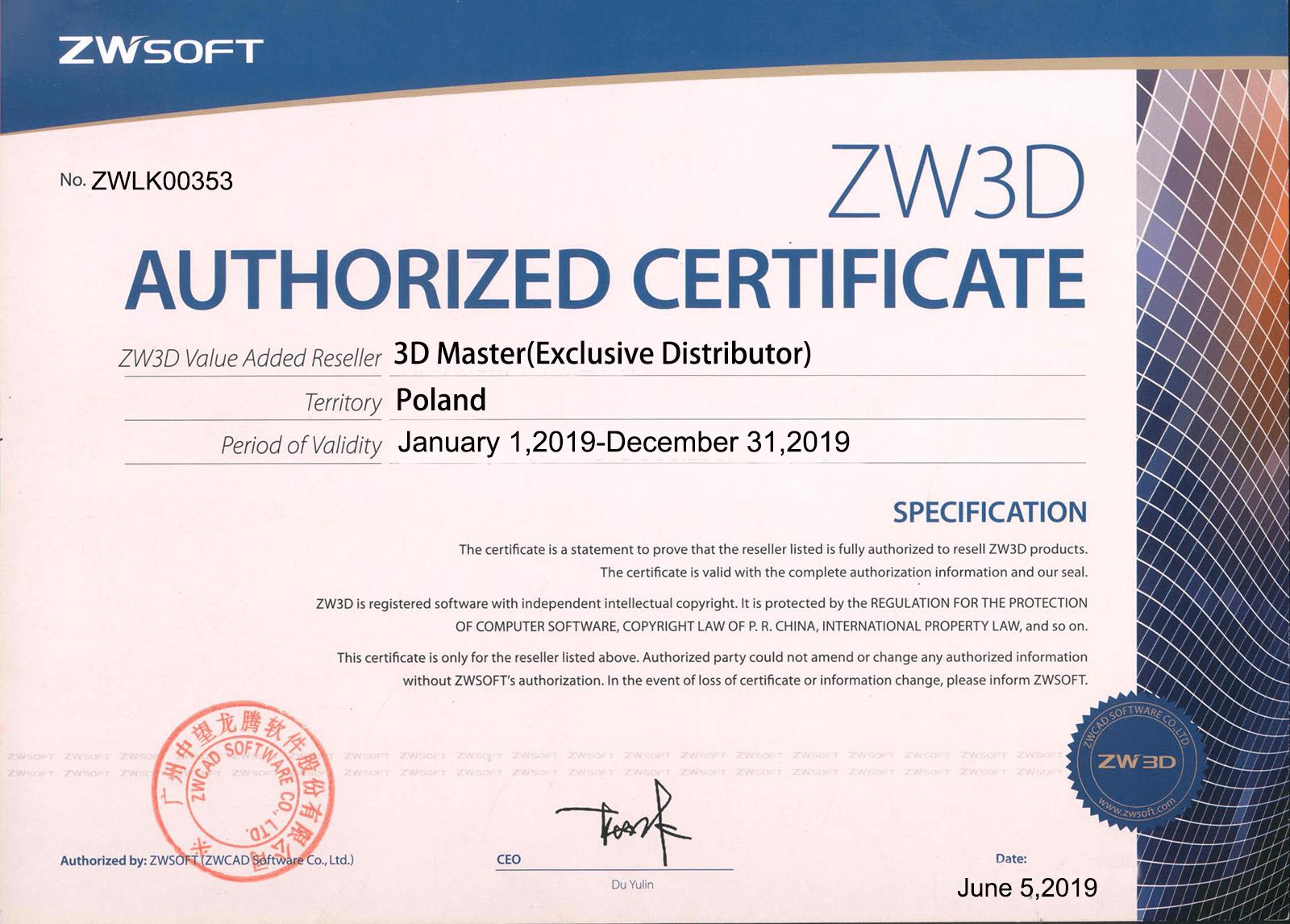 Certyfikat ZWSOFT dla 3D Master 2019