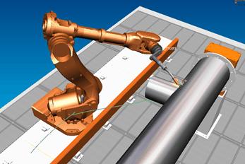 Stanowisko złożone z robota na torze jezdnym i obrotnika
